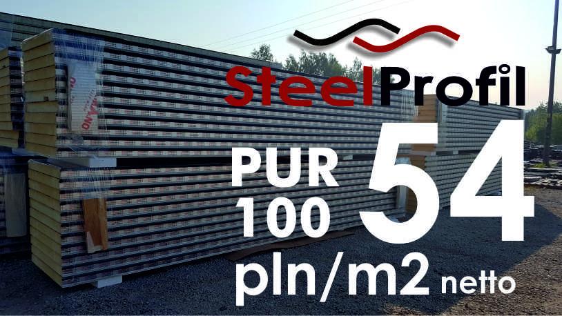 Płyta Warstwowa Poliuretanowa PUR 100mm – 54 pln netto/m2