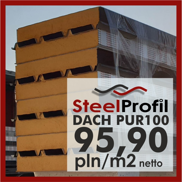 Oryginał Płyta Warstwowa Dachowa poliuretan PUR 100 mm / 10 cm dach gat1 BT11