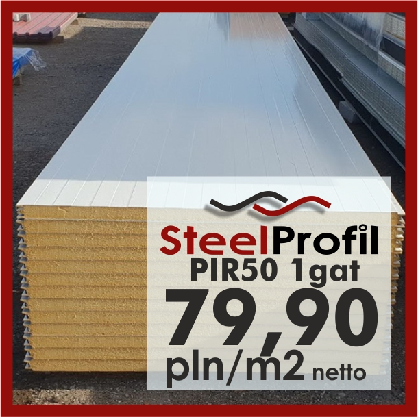 Cudowna Płyta Warstwowa poliuretan PIR 50 mm / 5 cm ścienna standard gat1 MW27