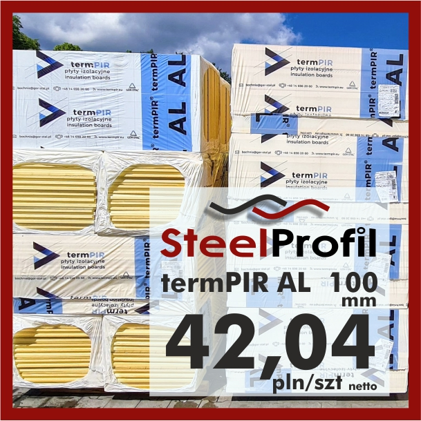 Płyta PIR termPIR AL Izoproof 100mm poliuretanowa pianka 4204
