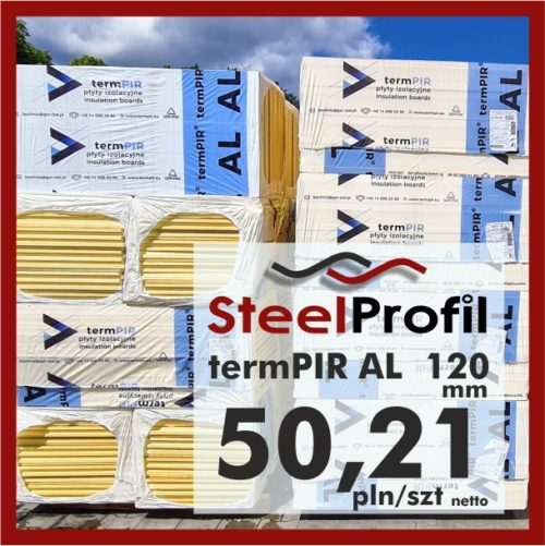 Płyta PIR termPIR AL Izoproof 120mm poliuretanowa pianka 5021