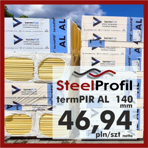 Płyta PIR termPIR AL Izoproof 140mm poliuretanowa pianka