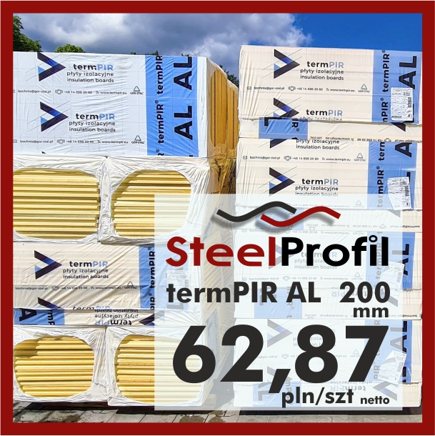 Płyta PIR termPIR AL Izoproof 200mm poliuretanowa pianka