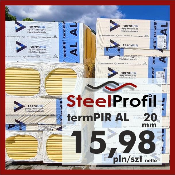 Płyta PIR termPIR AL Izoproof 20mm poliuretanowa pianka