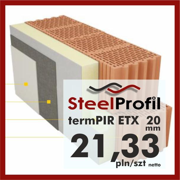 Płyty PIR ETICS termPIR ETX 20mm poliuretan z siatką pod klej i tynk 2120