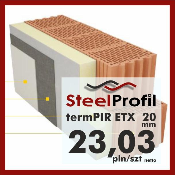 Płyty PIR ETICS termPIR ETX 20mm poliuretan z siatką pod klej i tynk