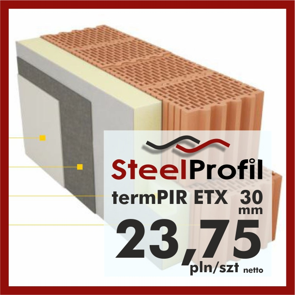 Płyty PIR ETICS termPIR ETX 30 mm poliuretan z welonem pod klej i tynk