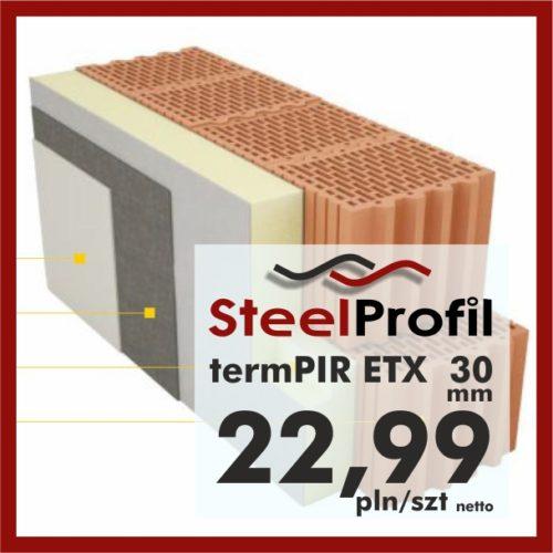 Płyty PIR ETICS termPIR ETX 30mm poliuretan z welonem pod klej i tynk 2299